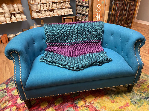 Purple & Turquoise Chunky Knit Blanket