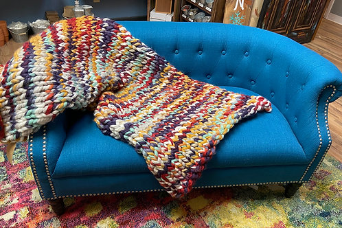 Multicolor Chunky Knit Blanket