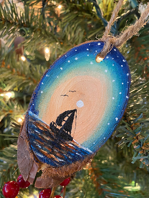 Sunset Sail Hand Painted Ornament