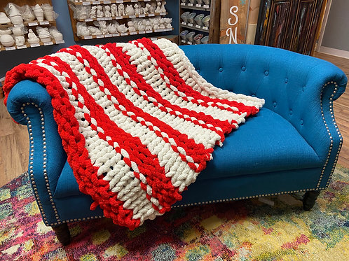 Candy Cane Chunky Knit Blanket