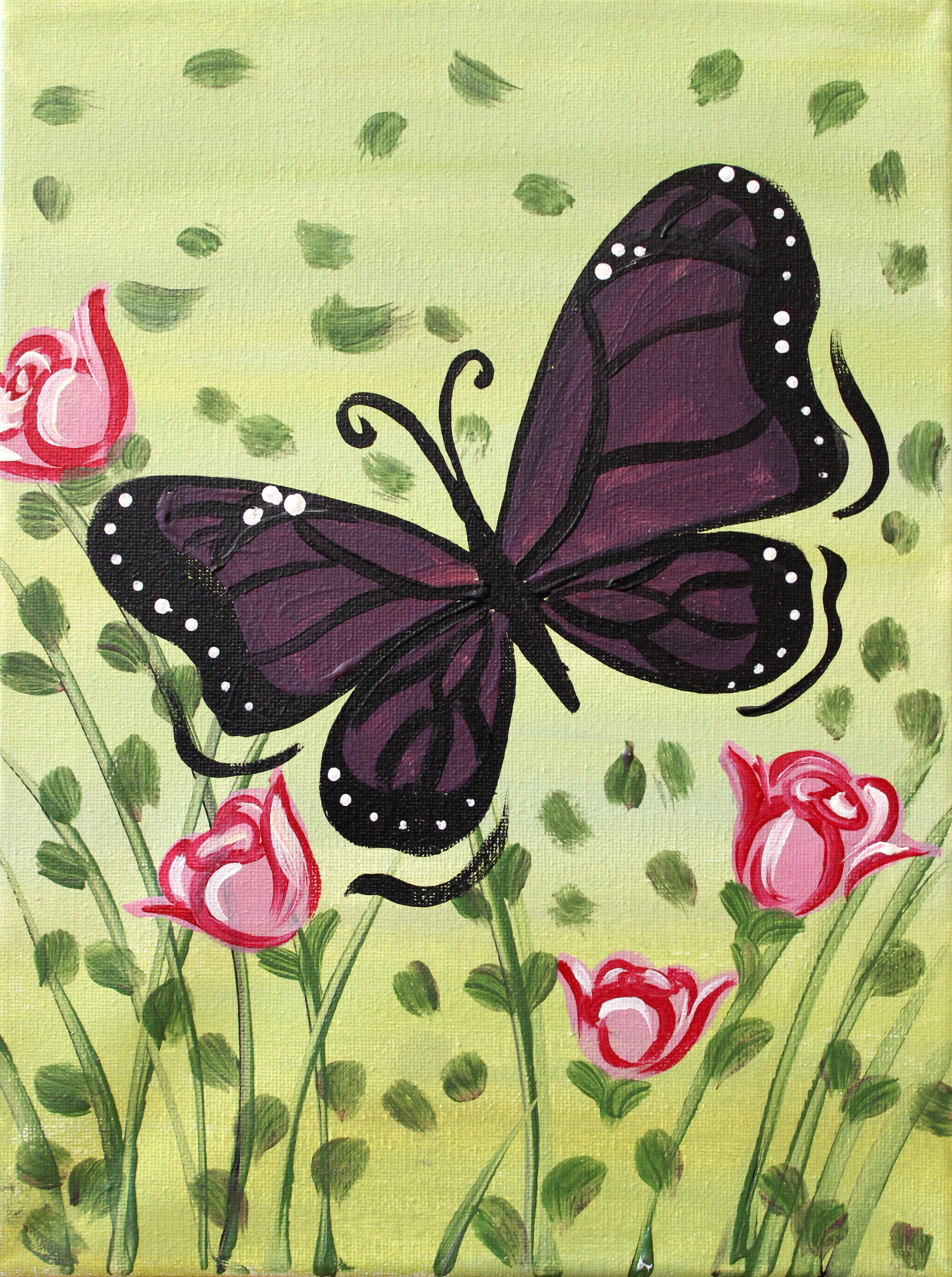 Butterfly and Roses