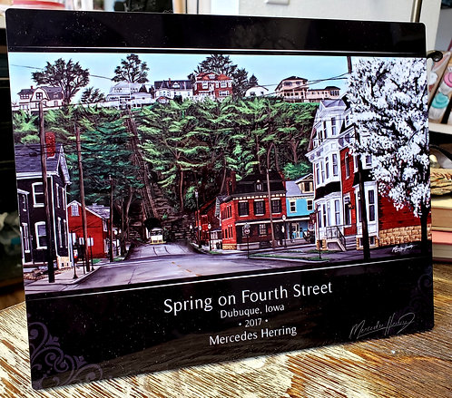 Spring on Fourth Street - 8x10 Desktop Plaque
