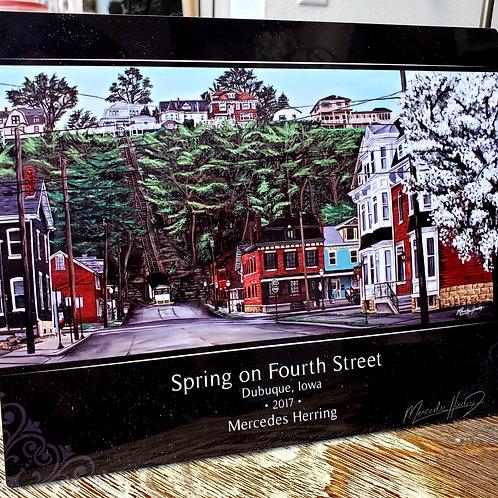 Spring on Fourth Street - 8x10 Desktop Plaque