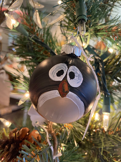 Penguin Hand Painted Glass Ornament