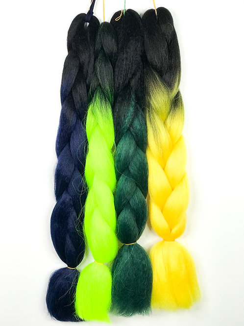 Coloured Braids (Black and Light green)