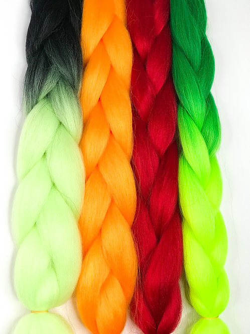 Colourful Braids (Black and light green)