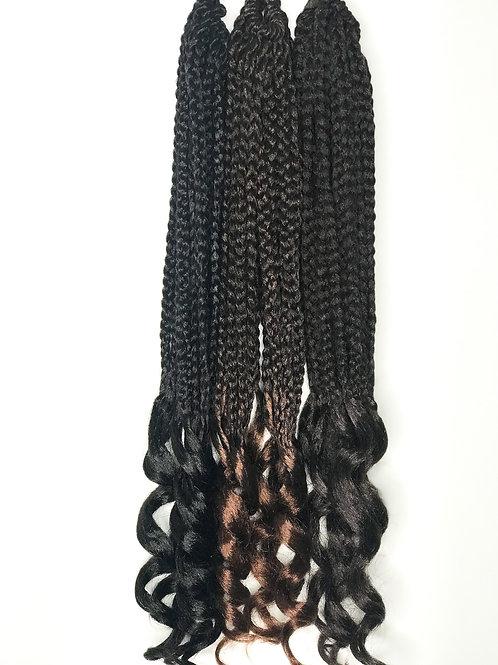 """Micro Curly Box Braids Crochet Hair 18"""" 1B"""