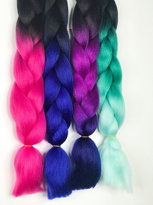 Colourful Braids (Black- green and light blue))
