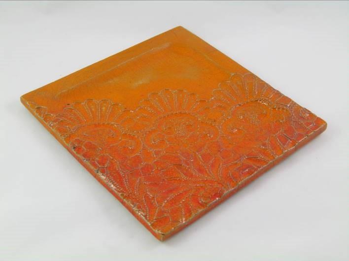 Plat Carré Dentelle Orange