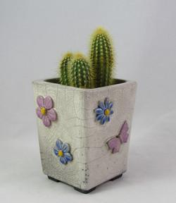 Pot Cactus Fleurs Papillon