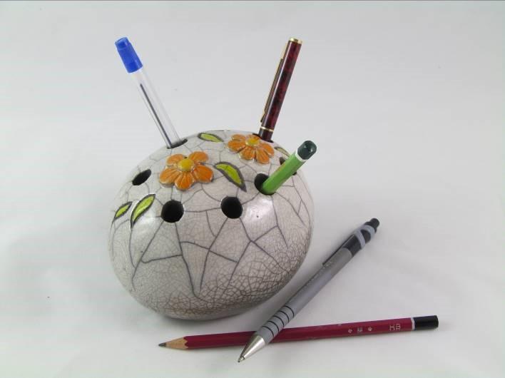 Pique-Crayon Fleurs Orange