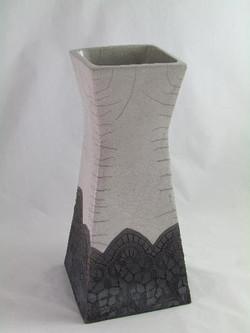 Grand Vase Carré Dentelle Blanc