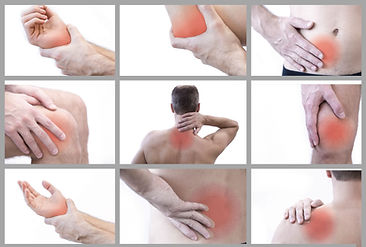 Pain in a man's body. Isolated on white
