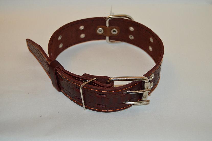 Ошейник кожаный тисненый однослойный 74 см х 4.5 см