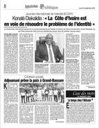 Newspaper Mr KONATÉ – ONECI - Cote d'Ivoire