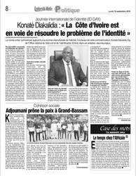 Newspaper Mr KONATÉ – ONECI - Cote d'Ivoire