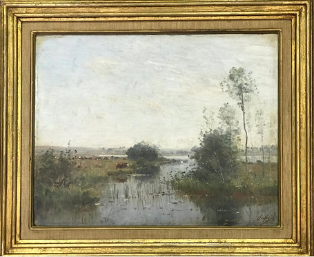 Louis Aime Japy A Landscape with Cows