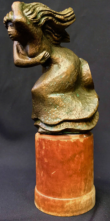 "Stig Blomberg Swedish Sculpture ""Woman in the wind"""