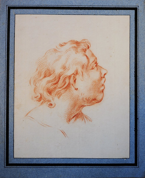French Sanguine Head of a male figure 18th Century