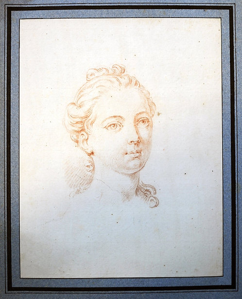 French Sanguine Head of a Young Girl 18th Century