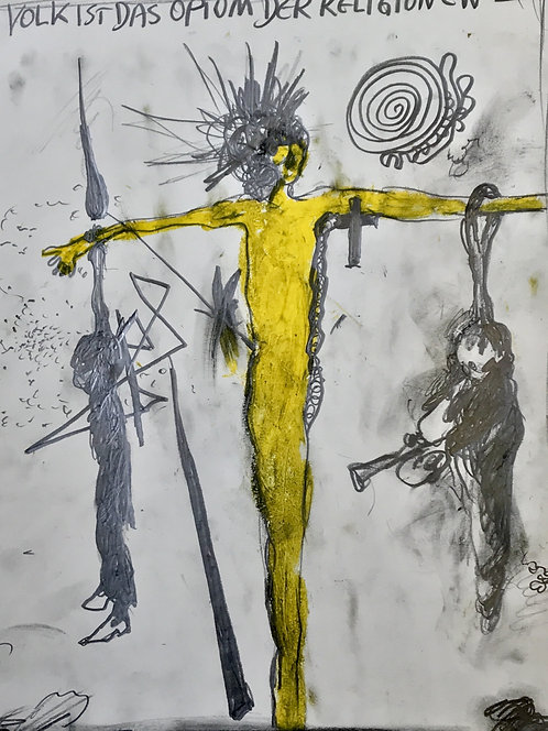Günter Brus yellow Crucifixion Drawing