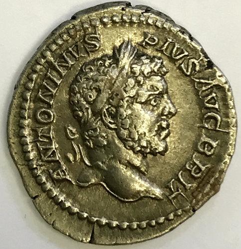 Silver denarius Caracalla 198-217 AD. Ancient Rome.