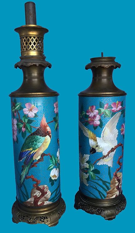 A PAIR OF FRENCH JAPONISME TURQUOISE-GROUND VASES