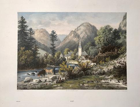 SIXT ( L' Abbaye ) 1866 : LITHOGRAPHIE ORIGINALE de H. TERRY