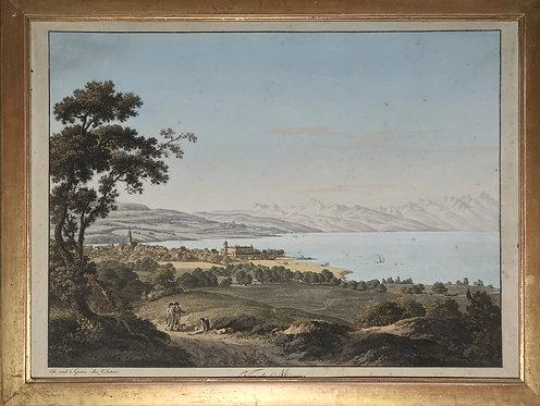 """Gravure  """"Vue de Morges""""par Jean-Antoine Linck(1766-1843)"""