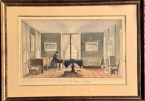 """19th Century watercolor """"Salon de Mr Gautier"""" at Cologny"""