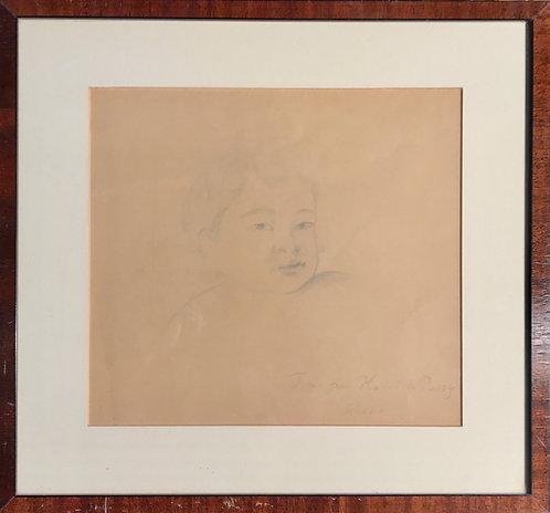 Portrait drawing of Fumio son of Balthus by Setsuko Klossowska de Rola