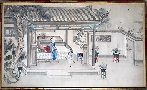 Lady in an opium house Chinese Watercolor