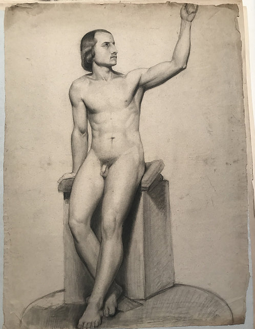 Old Master Drawing male nude academy