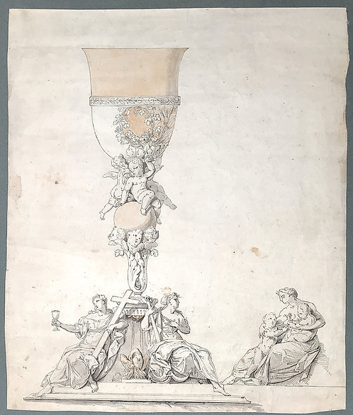 An 18th century silver and gold chalice project drawing