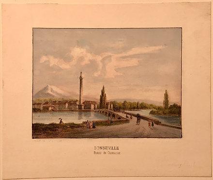 Bonneville Route de Chamonix, Hand colored lithograph