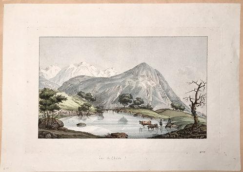 Vue du Lac de Chede et du Mont Blanc