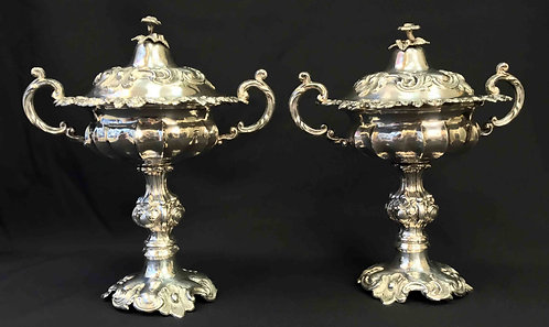 Pair of silver handled standing cups and covers