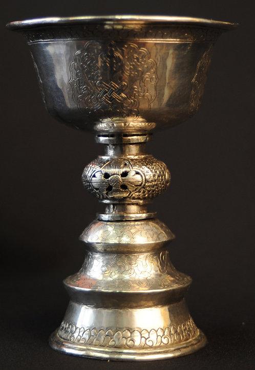 A Tibetan silver butter lamp 19th century