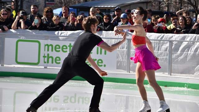 Olympic Gold Medalists Meryl Davis and Charlie White perform in Public Square