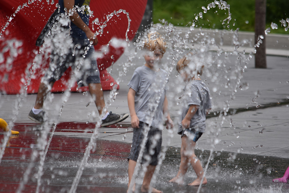 Children Play in Splash pad during Summer Splash in The Square presented by The Cleveland Foundation