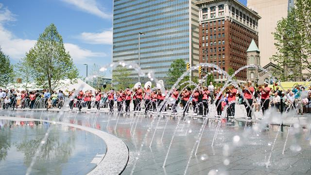 Splash Pad is a big attraction in downtown Cleveland