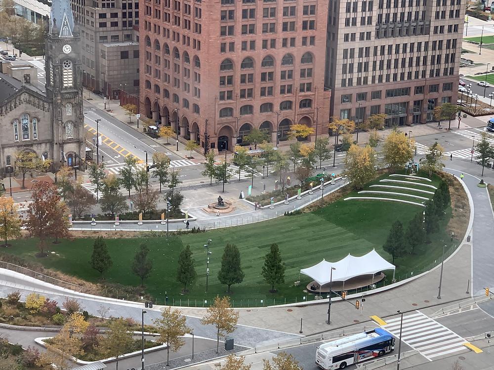 Gund Foundation Green gets resodded, pedestrian access is limited