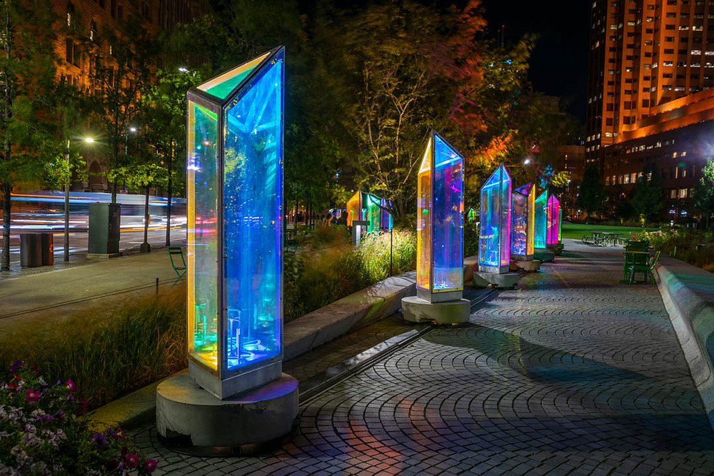 Prismatica, a creation by Raw Design in collaboration with Atomic3, Quartier des spectacles, Montréal. (Photo: Cindy Boyce)