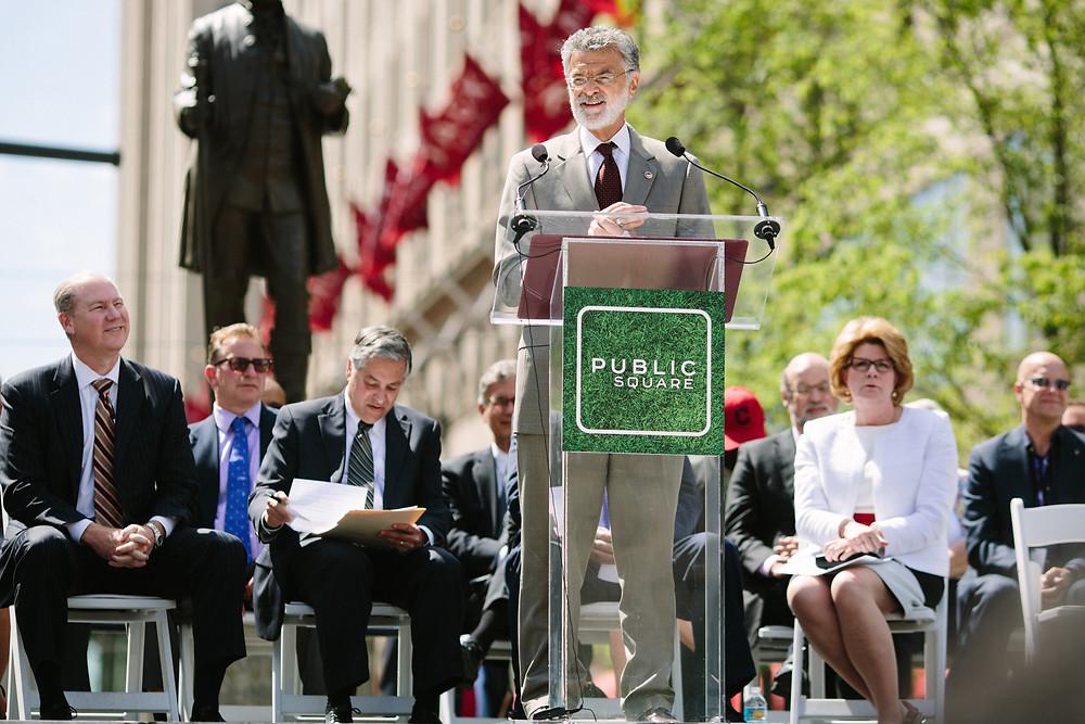 Cleveland's Mayor Frank Jackson speaks during rededication ceremony in Public Square