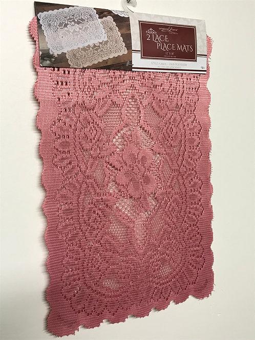 American Linen 2 Lace Place Mats (Rose)