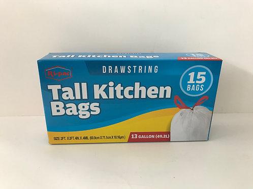 Ri-pac Tall Kitchen Bags 13 GAL 15 CT WHITE
