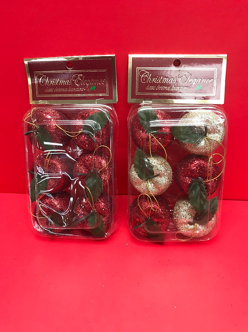 6 Pk Large Glitter Apple Ornaments Assorted