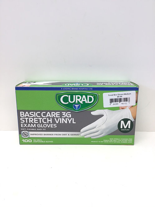 Curad Box 3G Stretch Vinyl Gloves Medium 100 Ct