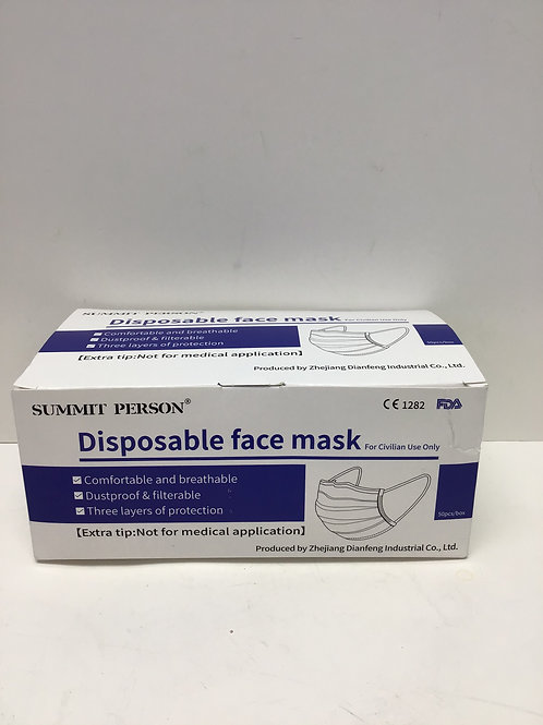 Summit Person Disposable Face Masks 50 ct