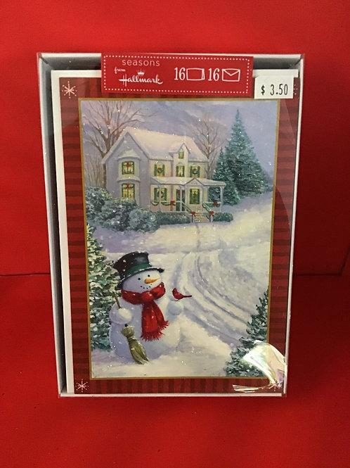 16 Hallmark Snowman Box Christmas Cards